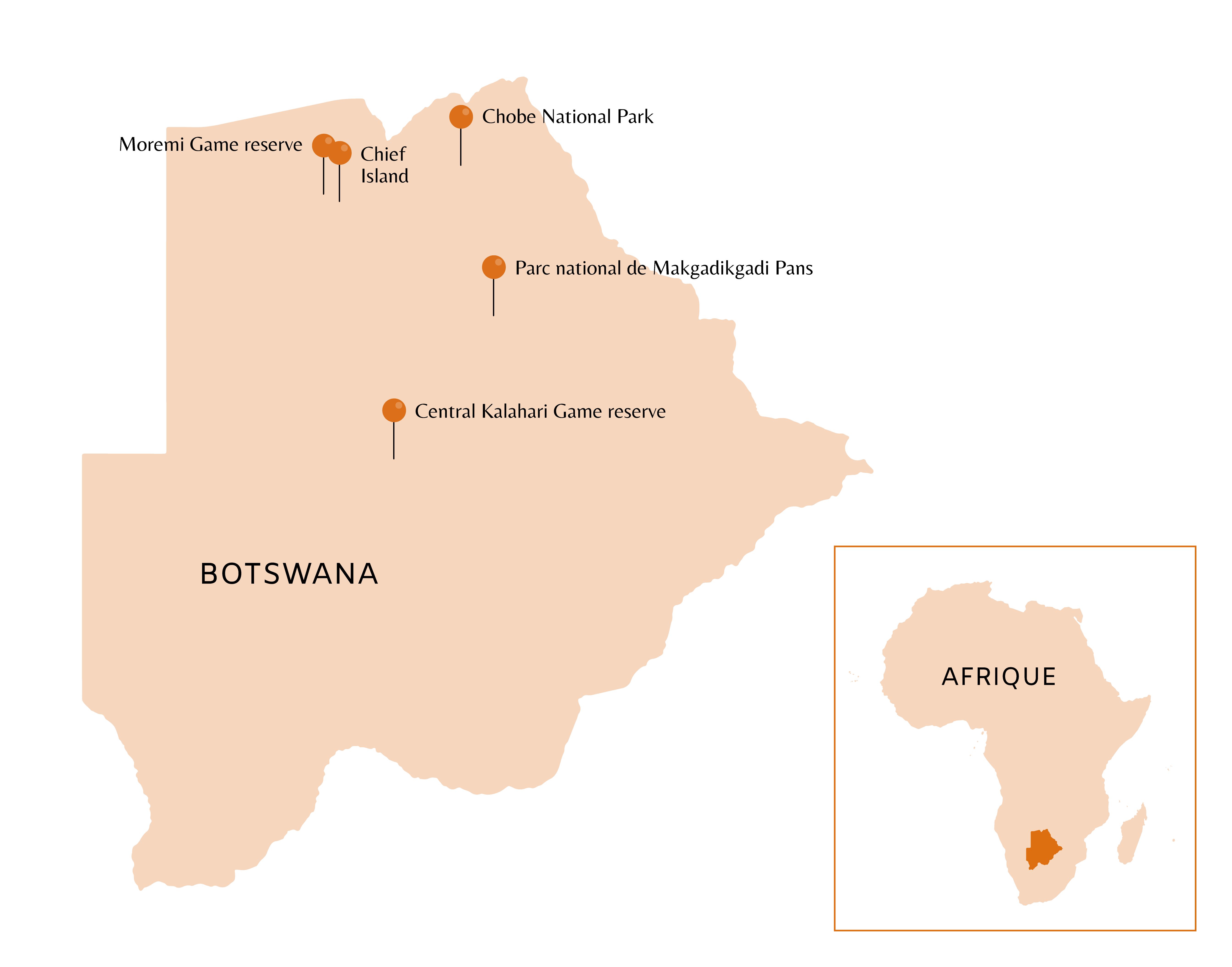 Carte du Botswana