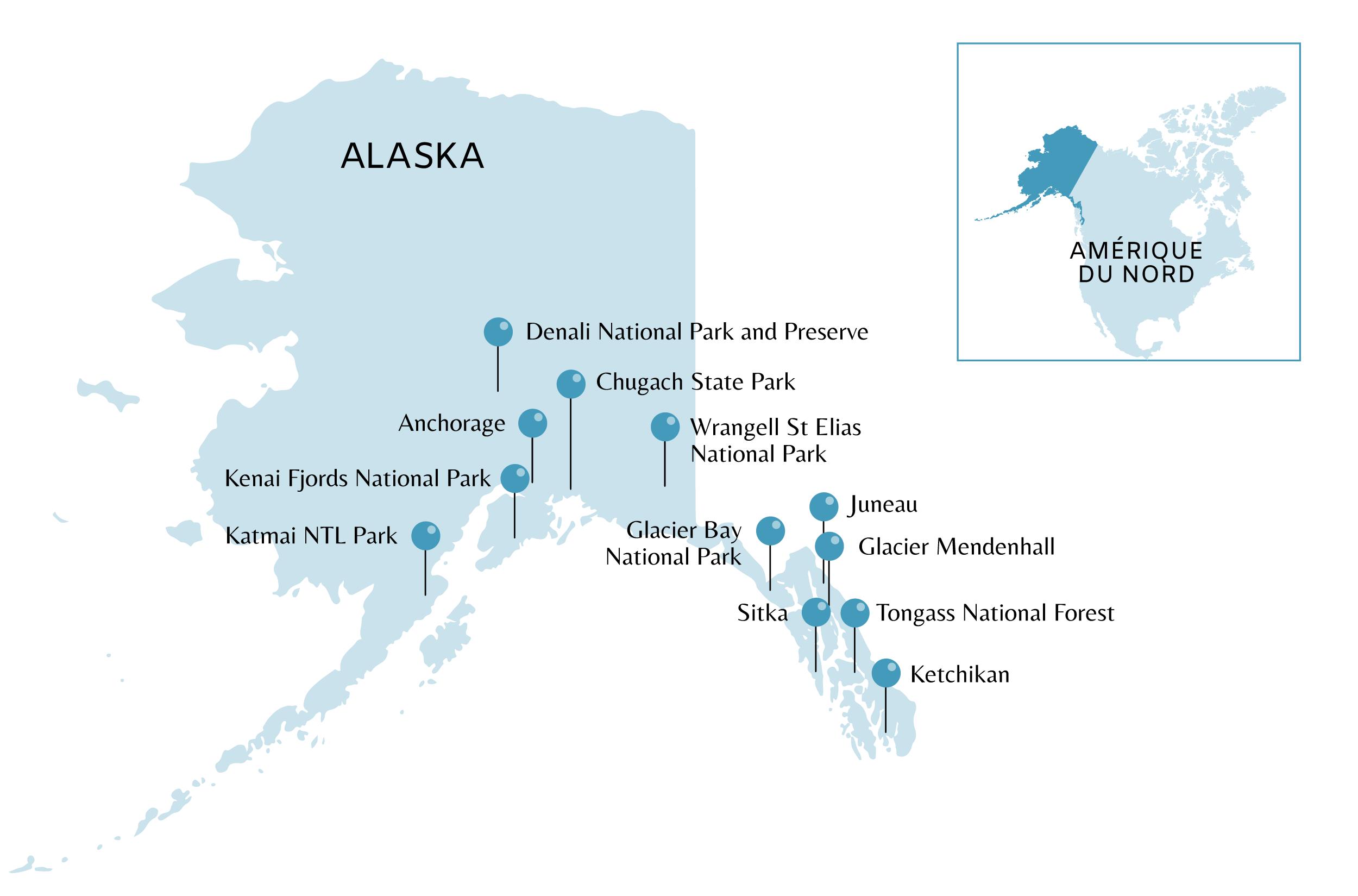 Carte des coups de coeur en Alaska