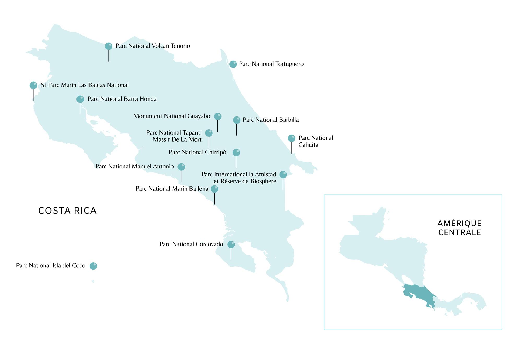 Carte du Costa Rica avec points d'intérêts