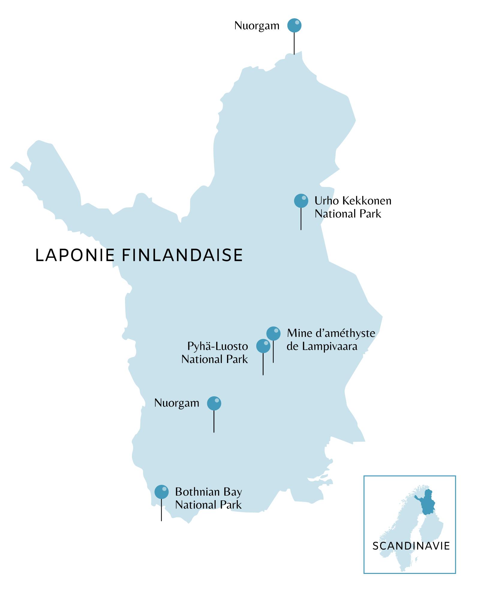 Carte de la Laponie Finlandaise avec points d'intérêts