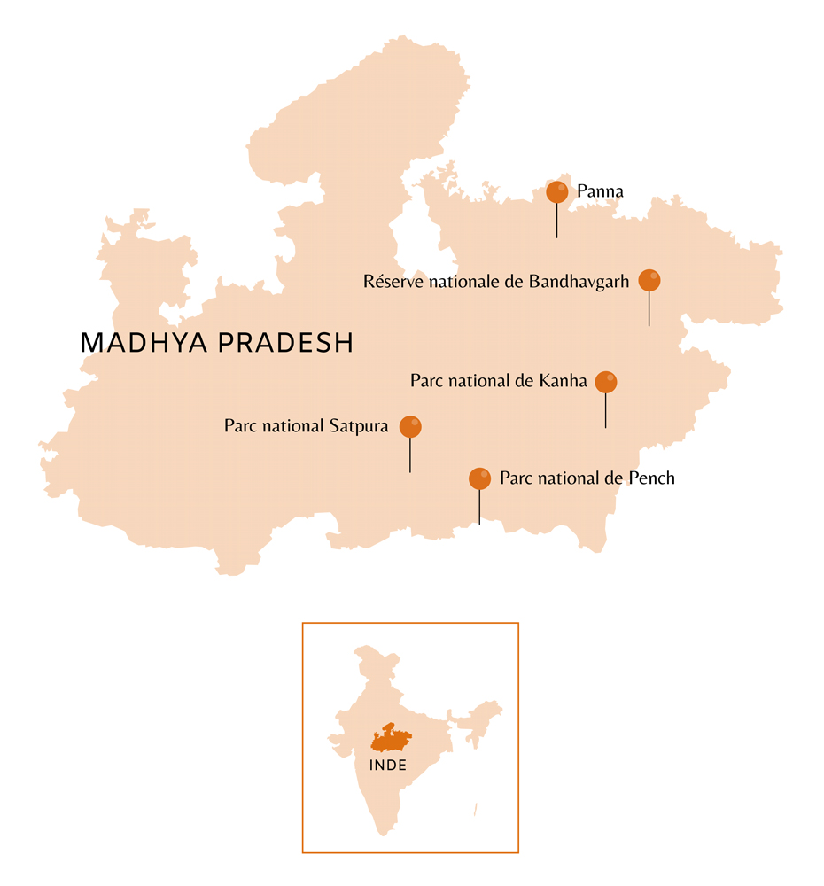 Carte du Madhya Pradesh en Inde avec points d'intérêts