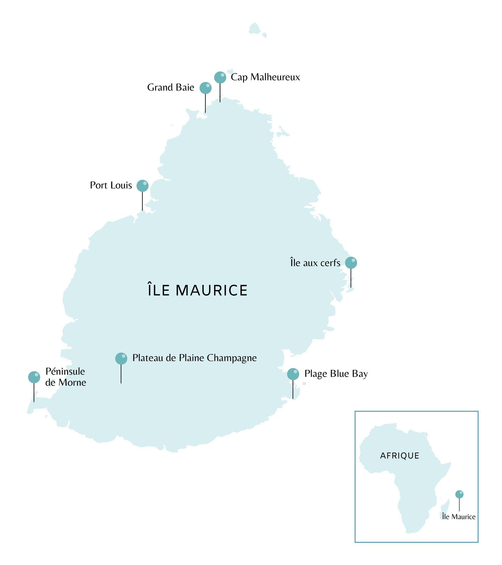 Carte des coups de coeur à l'île Maurice