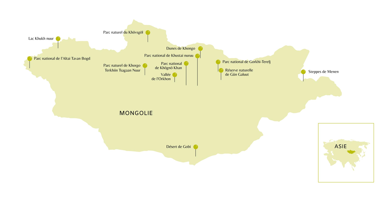 Carte de la Mongolie avec ces des points d'intérêt