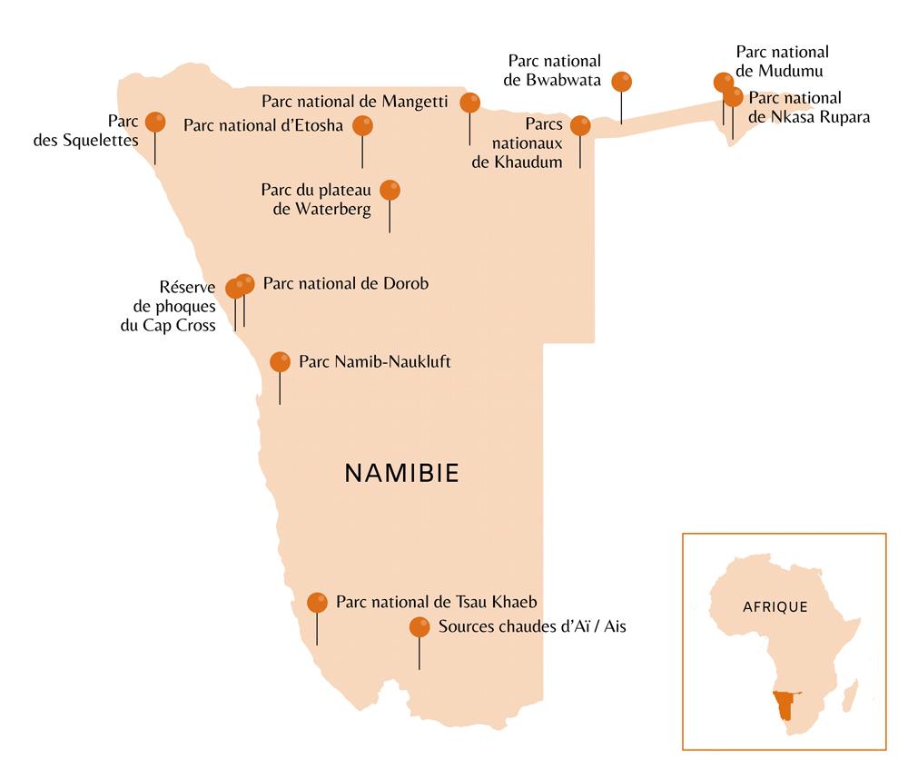 Carte de la Namibie avec points d'intérêts