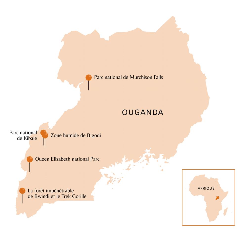 Carte de l'Ouganda avec points d'intérêts