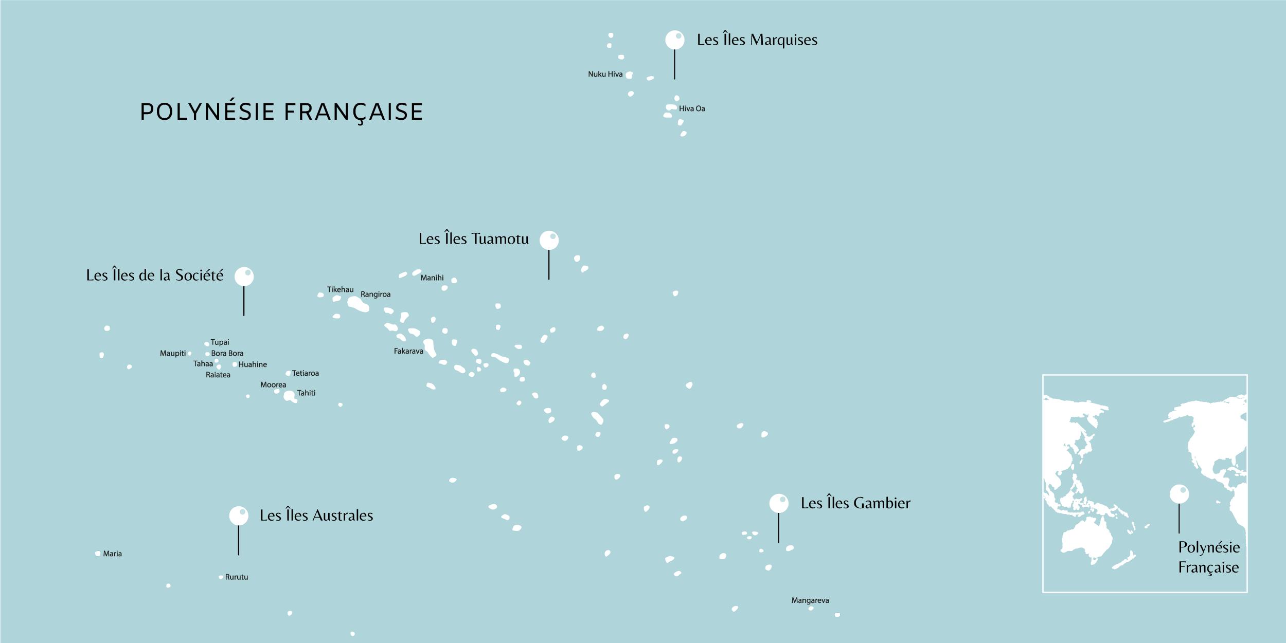 Carte des coups de coeur en Polynésie