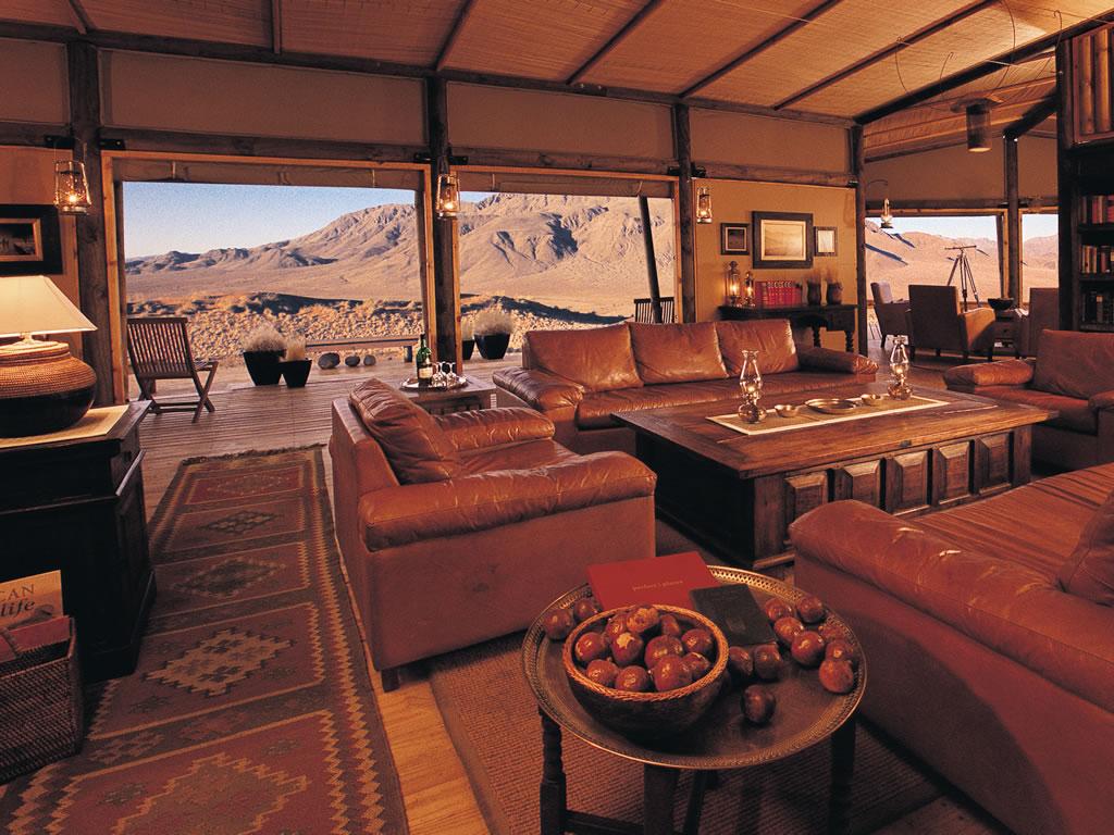 salon du wolwedan dune Lodge et vue sur les dunes
